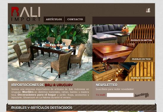 desarrollo de sitio web para bali import